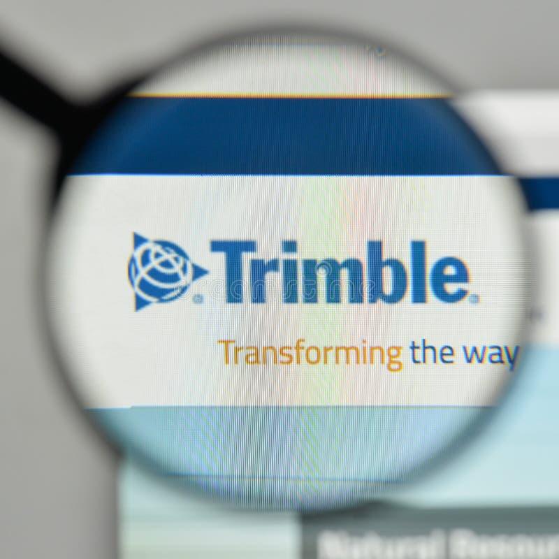Milaan, Italië - November 1, 2017: Trimbleembleem op de website hom royalty-vrije stock afbeelding