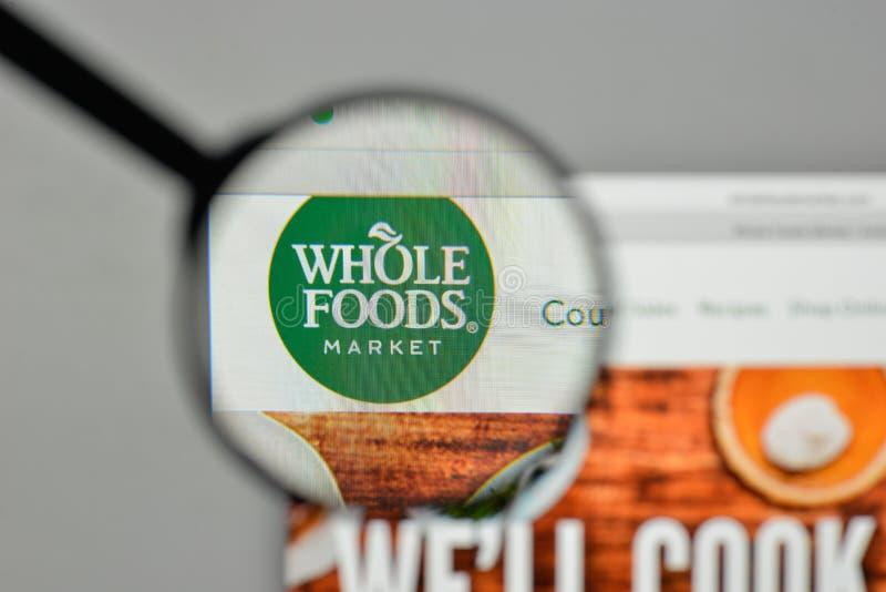 Milaan, Italië - November 1, 2017: Whole Foods-embleem op de website royalty-vrije stock fotografie