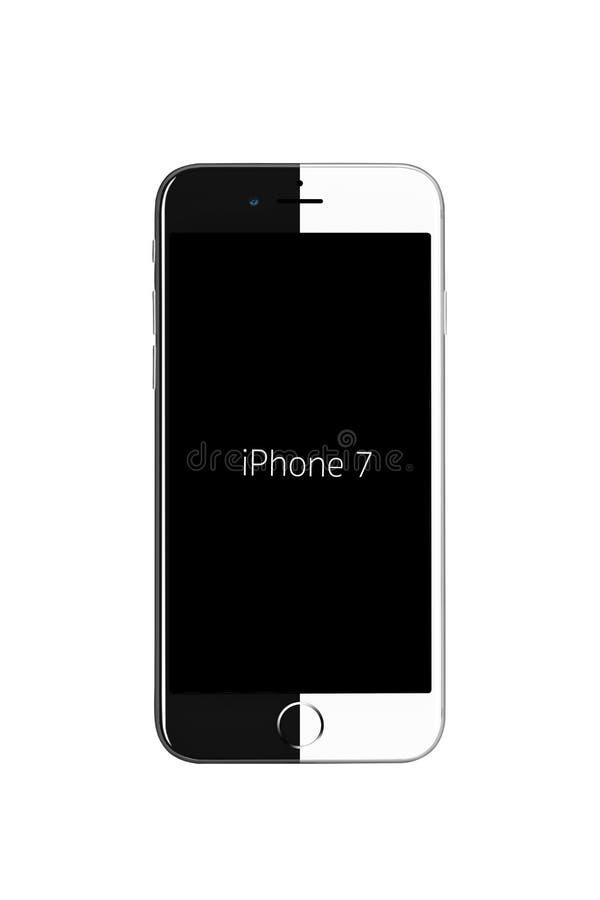 Milaan, Italië - September 19, 2016: Half zwart model vooraanzicht van Apple-iPhone 7 half wit, royalty-vrije stock foto's