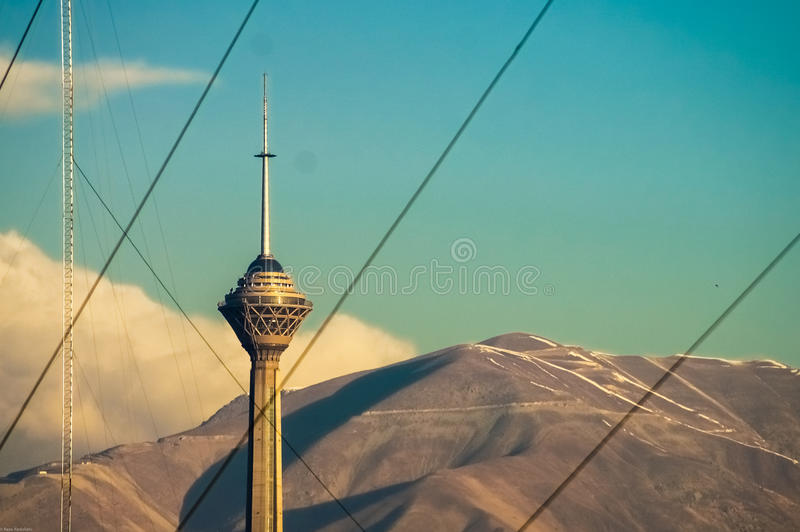 Milad Tower In Chains royaltyfri bild