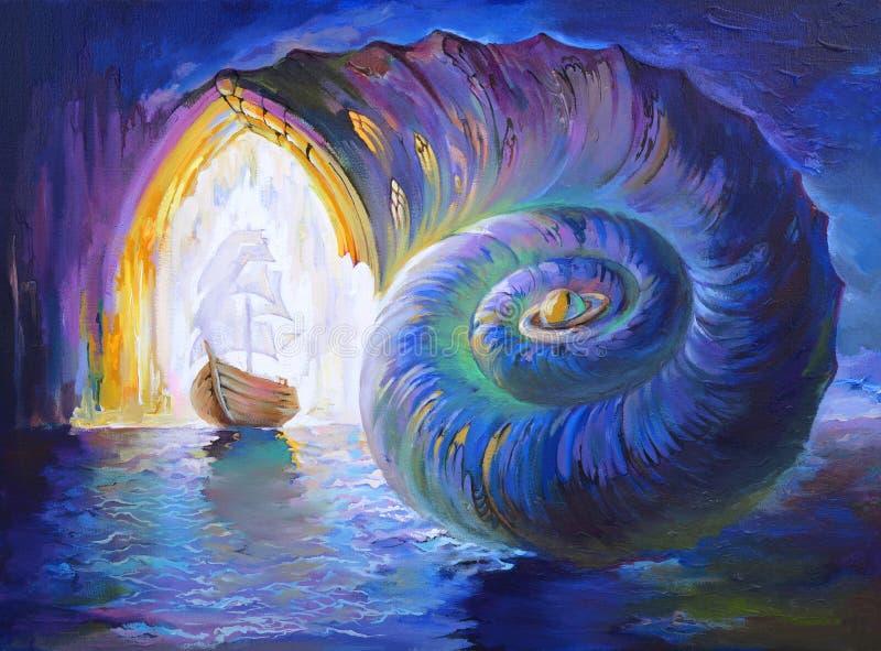 Milagro de la manera de la evolución Paisaje marino fantástico del país de las hadas Pintura al óleo en lona stock de ilustración