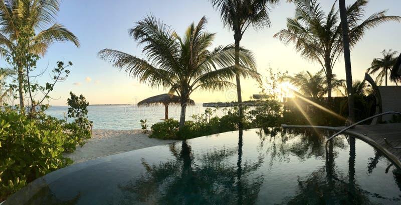 Milaidhoo马尔代夫-有私人设备的豪华旅游胜地 库存图片