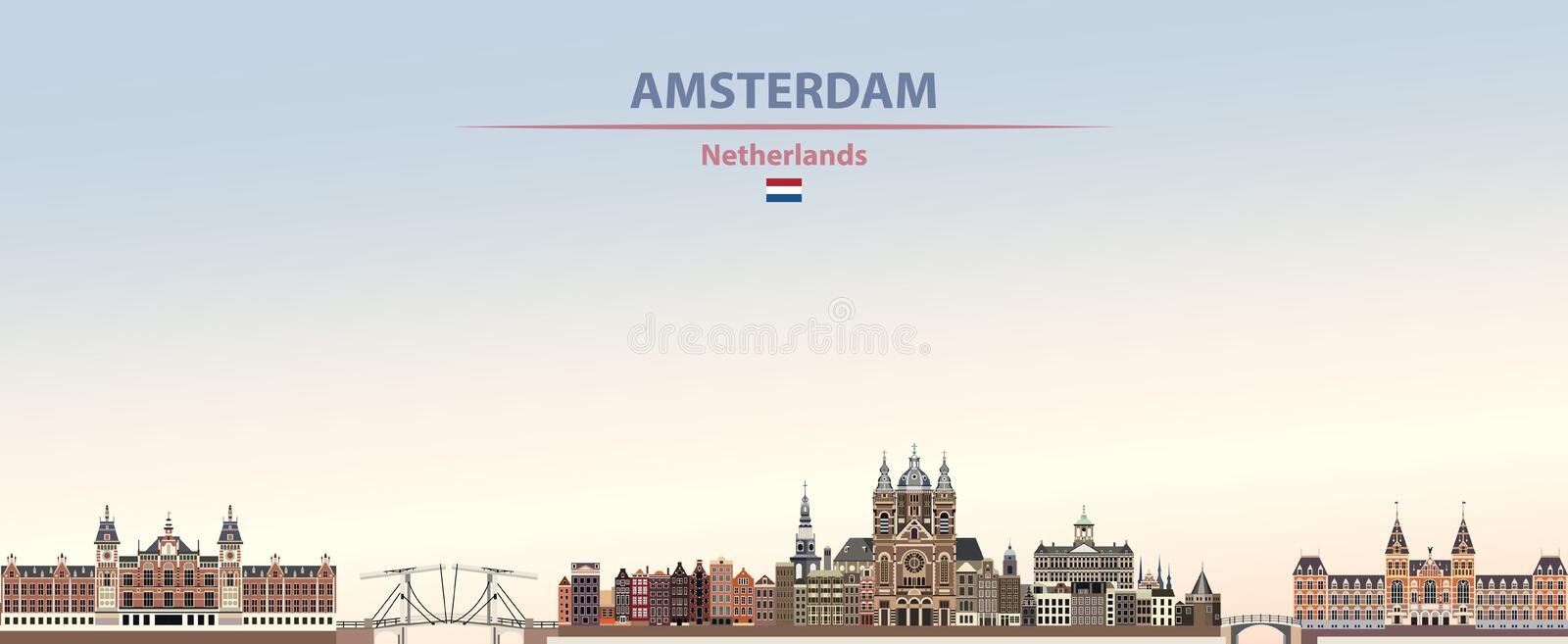 Vector illustration of Amsterdam city skyline on colorful gradient beautiful day time background vector illustration