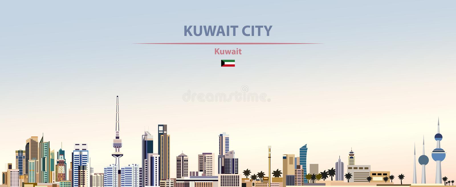 Vector illustration of Kuwait City skyline on colorful gradient beautiful day sky background. Vector illustration of Kuwait City skyline vector illustration