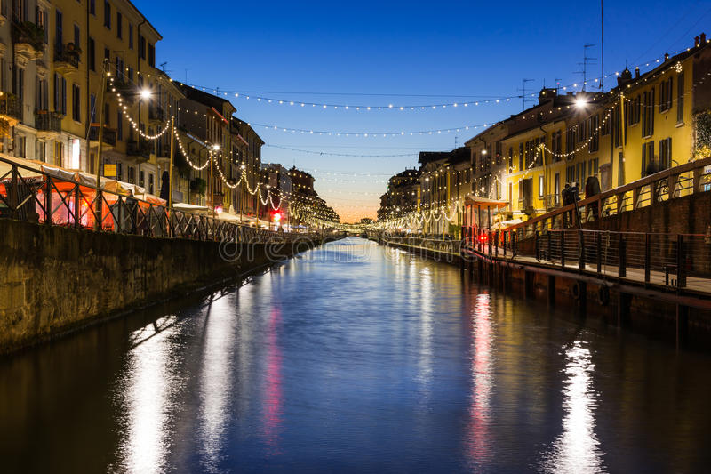 Milan Canal Naviglio Decorated for Christmas Winter 2016 Destination Travel Italy River Water Afternoon Sunset royalty free stock photos