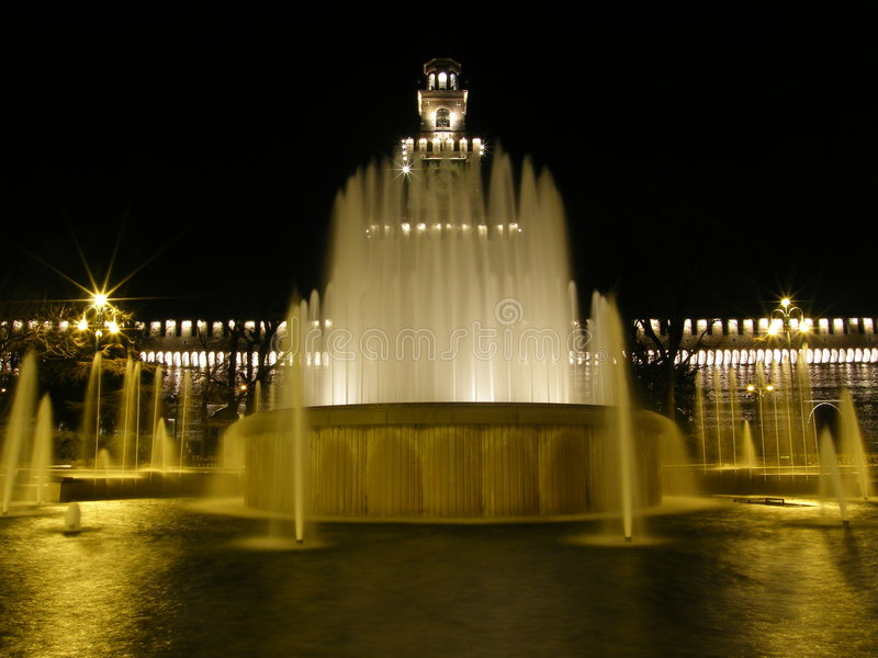 Milan Castello Sforzesco fountain royalty free stock photos