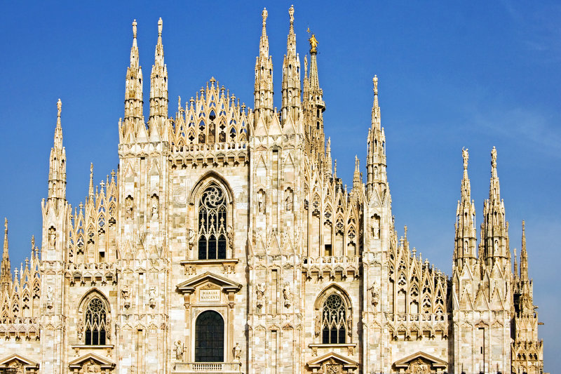 Milan Cathedral. Also known as Duomo Di Milano in Italian language in Milan, Italy stock photo