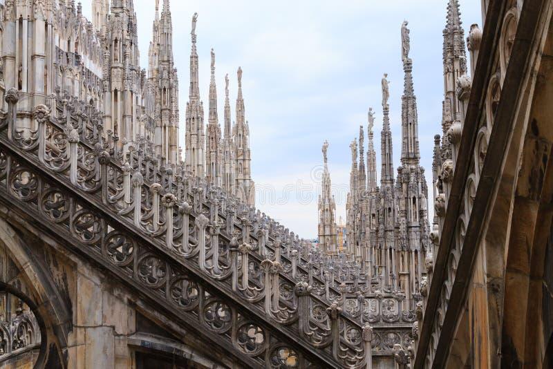 Milan Cathedral, di Milão do domo, vista Marco italiano famoso imagens de stock royalty free