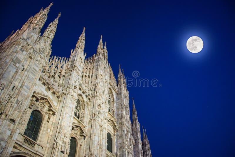 Milan Cathedral, Piazza del Duomo at night, Italy stock photography