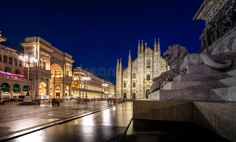 Milan Cathedral, Piazza del Duomo at night, Lombardia, Italy royalty free stock photography