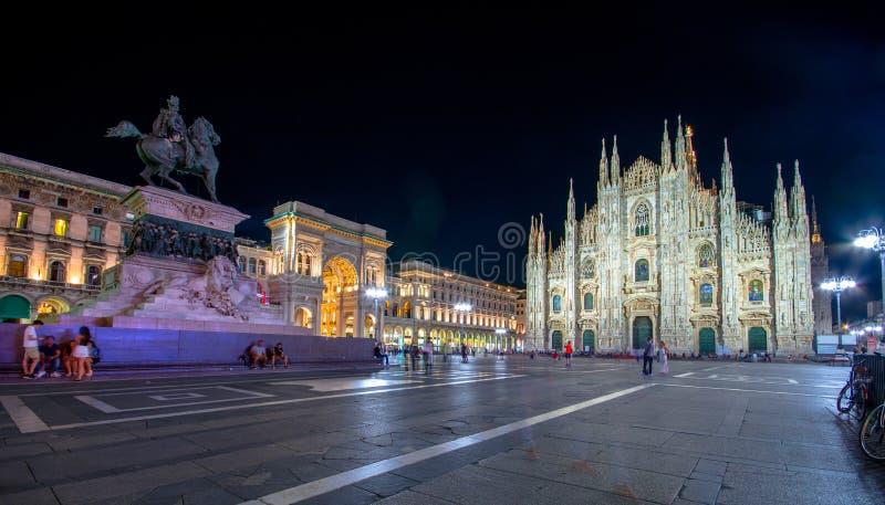 Milan Cathedral, Piazza del Duomo at night, Italy royalty free stock photos
