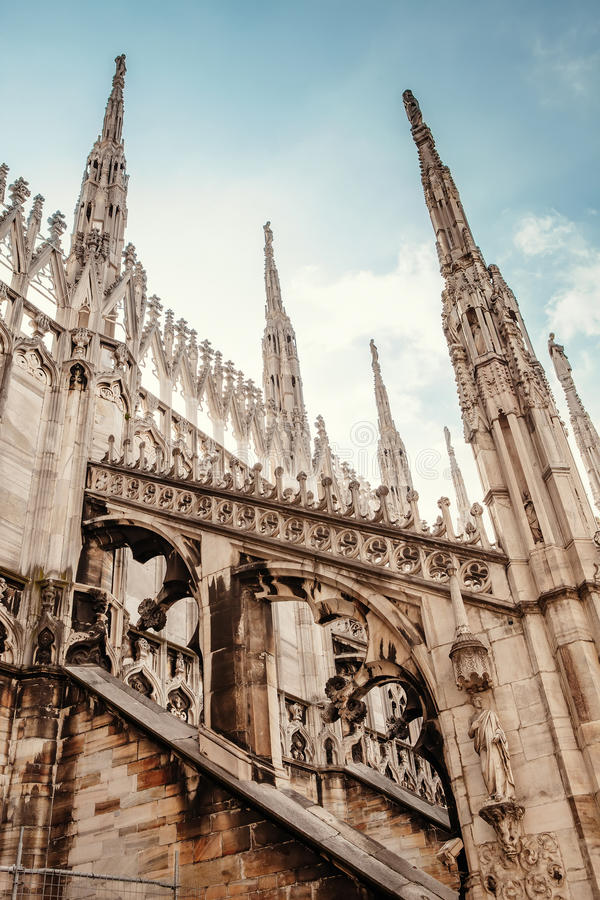 Download Milan Cathedral Roof Gallery Flamboyant Style Of Late Gothic Architecture Stock Image