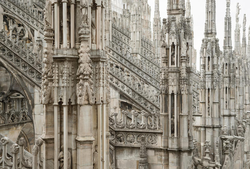 Download Milan Cathedral Roof Gothic Ornaments Spire Pointed Archs Statues Stock Image