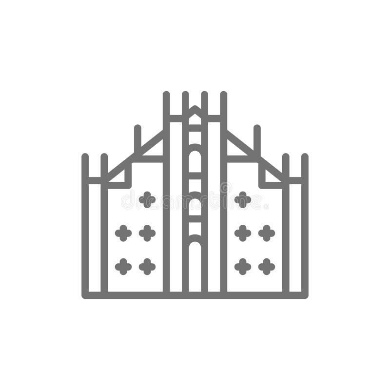 Milan Cathedral, señal línea icono de Milán, Italia ilustración del vector
