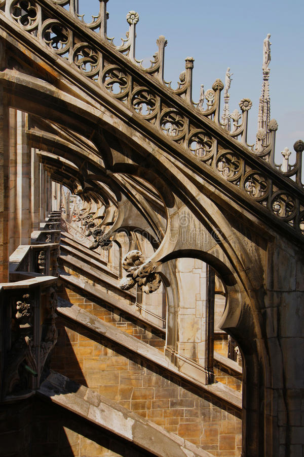 Milan cathedral. Statues and sculptural decoration on the roof of Milan cathedral stock images