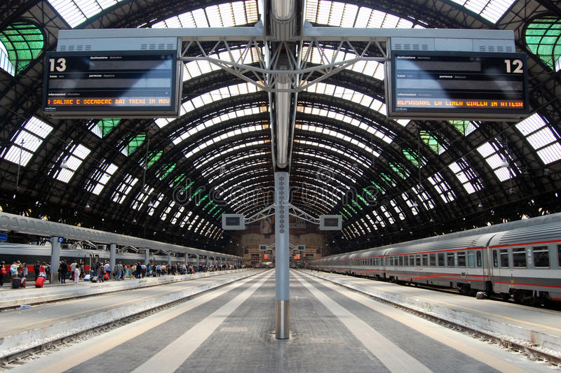 Milan Central railway station. Milan Central Station (in Italian, Stazione Centrale di Milano or Milano Centrale) is one of the main European railway stations royalty free stock images