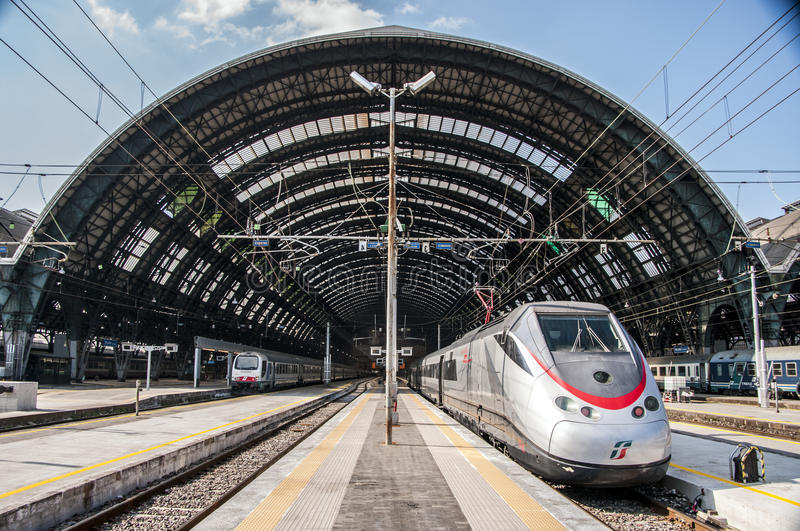 Milan Central railway station. Milan Central Station (in Italian, Stazione Centrale di Milano or Milano Centrale) is one of the main European railway stations stock images