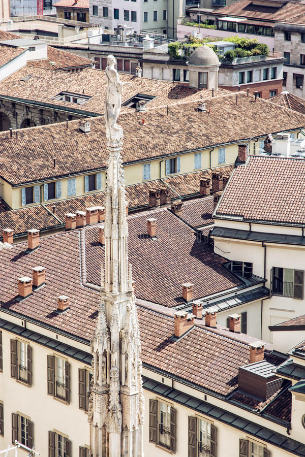 Milan city from the Duomo cathedral, Italy, travel destination royalty free stock photos