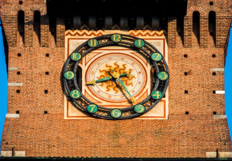 Milan clock of the sforza castle in the city center stock image