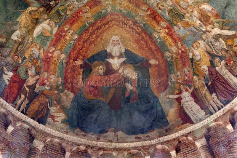Milan - couronnement de Mary de saint Simpliciano photo stock