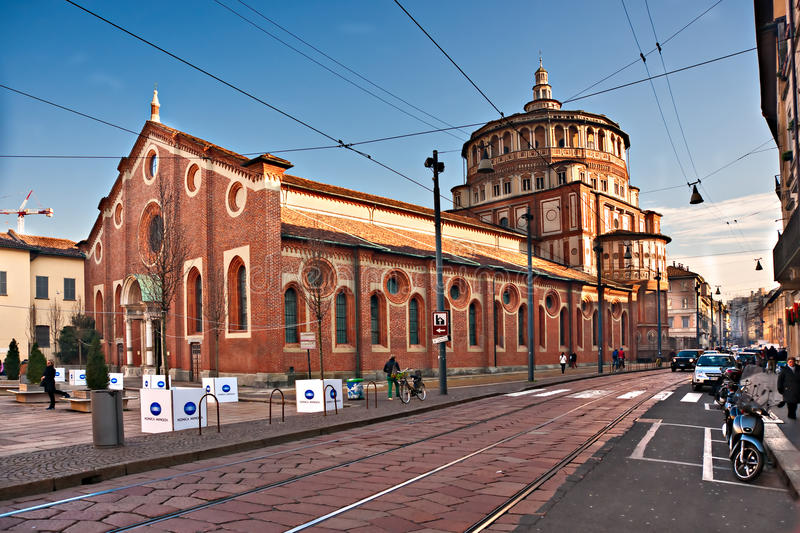 MILAN - DECEMBER 11: Santa Maria dlle Grazie stock photography