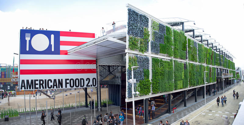 Milan Expo 2015 Usa pavilion. Milan - May 20, 2015 - Milan Expo 2015, panoramic photo of Usa pavilion stock image