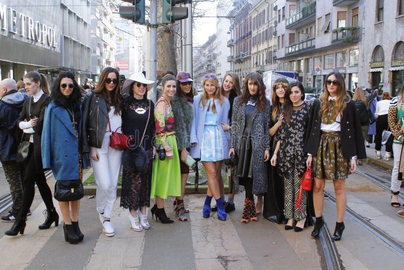 Milan fashion bloggers stock image