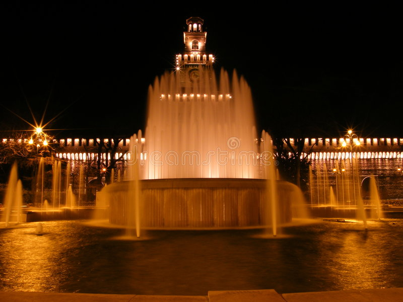Download Milan Fountain 1 stock photo. Image of night, flags, ancient - 4259204