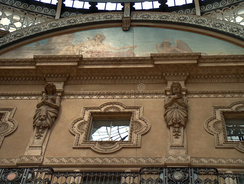 Milan - Gallery roof detail stock image