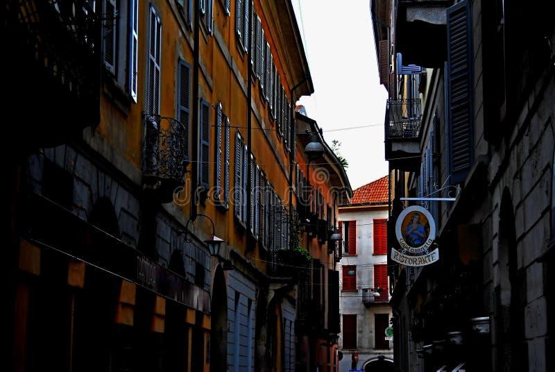 Milan gata Italien arkivfoto