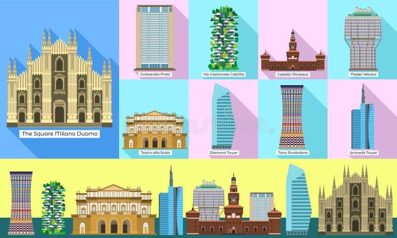 Milan icons set, flat style royalty free illustration