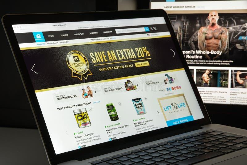 Milan, Italie - 10 août 2017 : Bodybuilding homepag de site Web de COM images stock