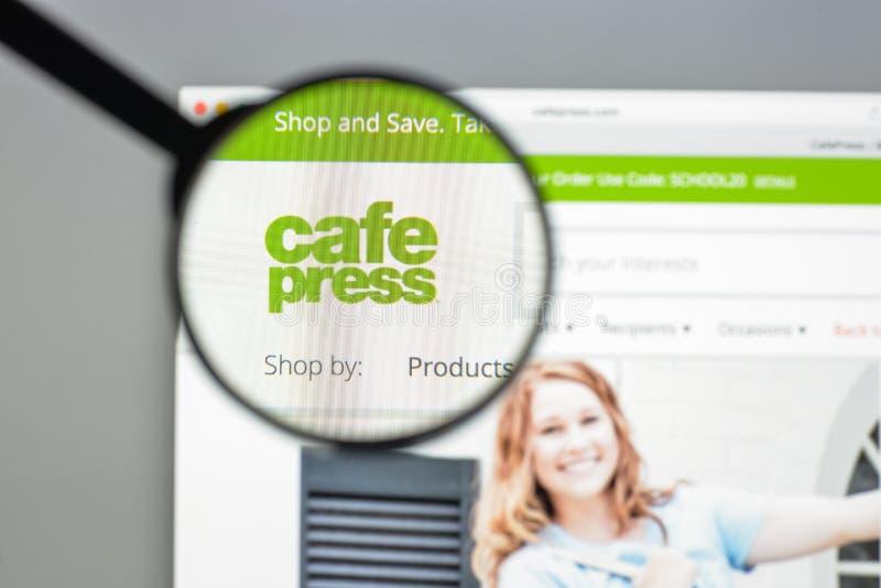 Milan, Italie - 10 août 2017 : cafepress page d'accueil de site Web de COM image stock