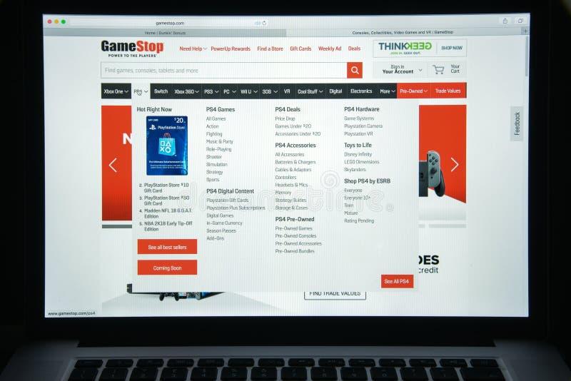 Milan, Italie - 10 août 2017 : Gamestop page d'accueil de site Web de COM I photos stock