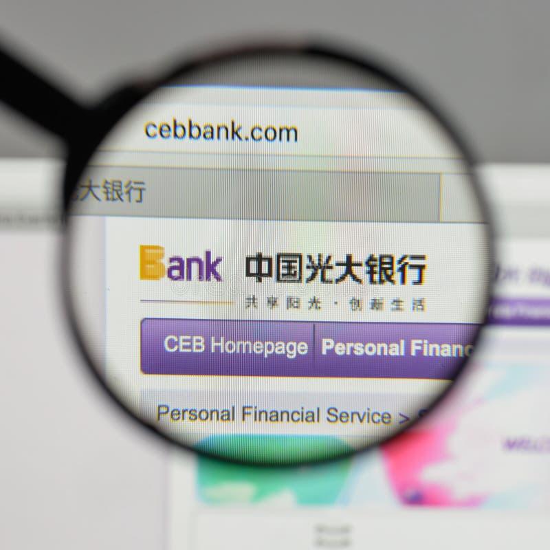 Milan, Italie - 10 août 2017 : Logo de banque de la Chine Everbright sur le Th photo libre de droits