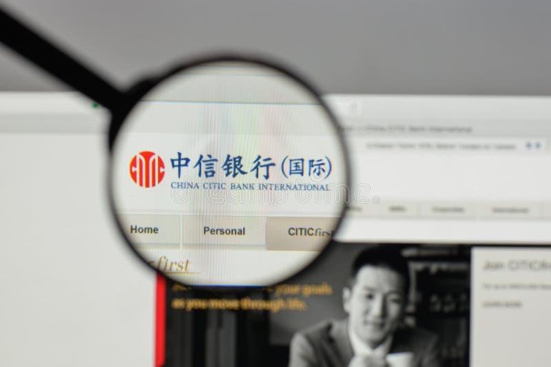 Milan, Italie - 10 août 2017 : Logo de la Chine Citic Bank sur le Web images libres de droits