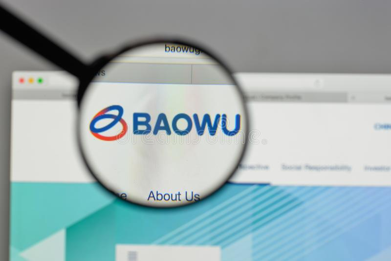 Milan, Italie - 10 août 2017 : Logo en acier de groupe de la Chine Baowu dessus image stock