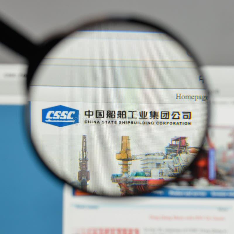 Milan, Italie - 10 août 2017 : Logo o de construction navale d'état de la Chine images stock