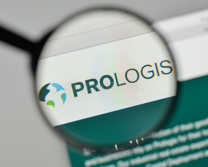 Milan, Italie - 1er novembre 2017 : Logo de Prologis sur le site Web ho photos libres de droits