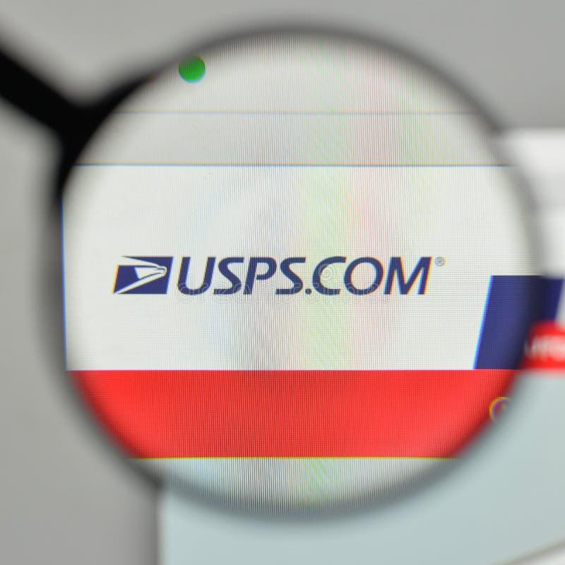 Milan, Italie - 1er novembre 2017 : U S Logo de service postal sur photos libres de droits