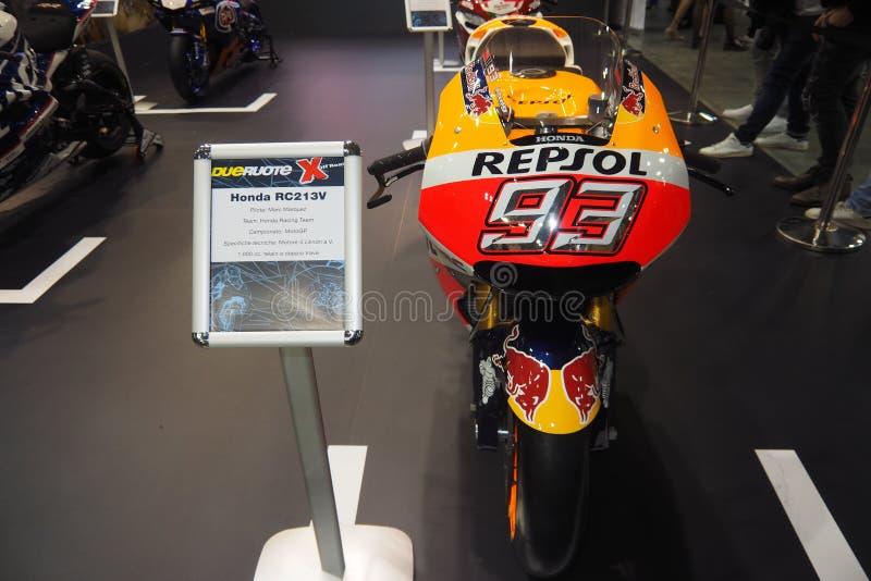 MILAN, ITALIE - 9 NOVEMBRE : Honda de Marc Marquez sur l'affichage à EICMA, exposition internationale de moto le 9 novembre 2017  image libre de droits