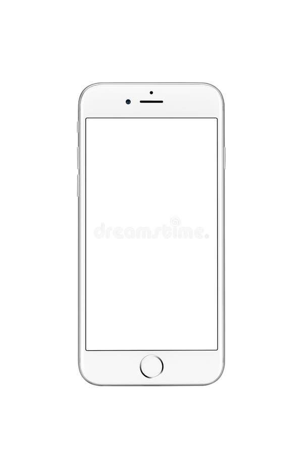 Milan, Italie - 19 septembre 2016 : Vue de face de l'iPhone argenté 7 d'Apple images libres de droits