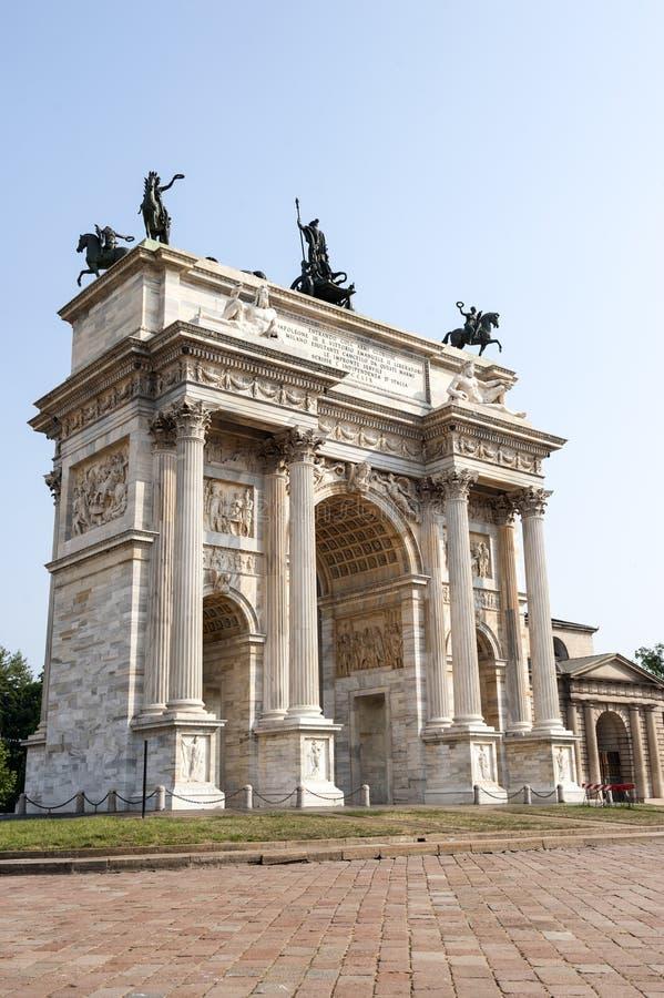 Milan (Italien) - Arco dellahastighet arkivbild
