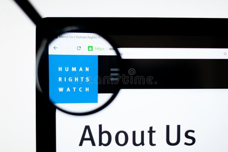 Milan Italien - Augusti 20, 2018: Human Rights Watch websitehomepage Synlig Human Rights Watch logo vektor illustrationer