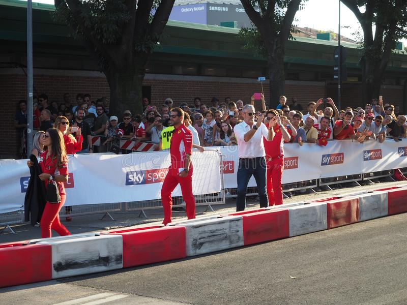 Milan Italien - Augusti 29, 2018: Maurizio Arrivabene teknisk direktör för Ferrari ` s royaltyfri bild