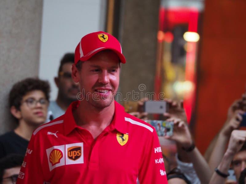 Milan Italien - Augusti 29, 2018: Sebastian Vettel på händelsen F1 i Milan royaltyfria bilder