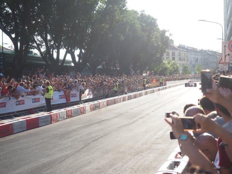 Milan Italien - Augusti 29, 2018: Sebastian Vettel som kör Ferrari fotografering för bildbyråer