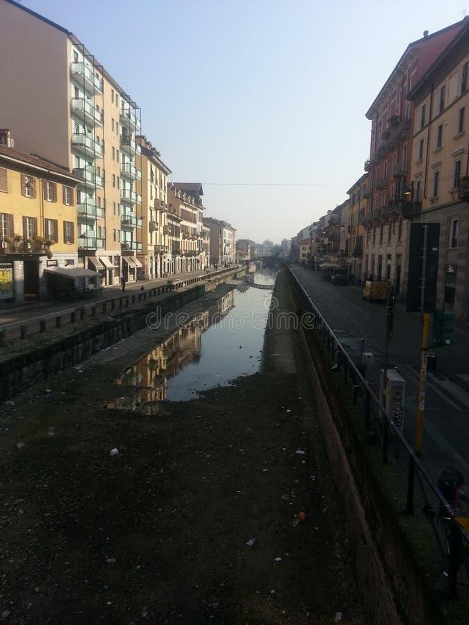 Milan Italien kanalgata royaltyfri bild