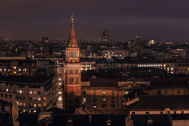 Milan, Italy: aerial view, central part of the city royalty free stock photography