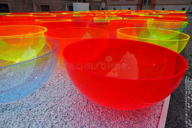 MILAN, ITALY-APRIL, 9, 2019: Design elements displayed on the historical Manzoni square stock photos